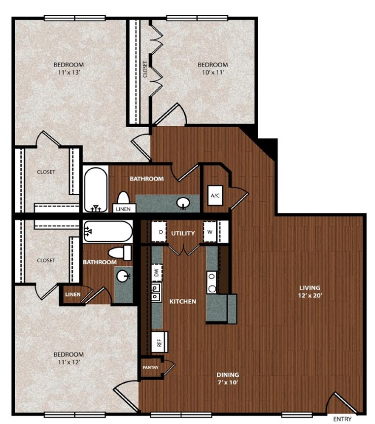 1,245 sq. ft. C3 floor plan