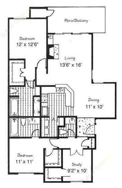 1,190 sq. ft. C5-VILLA floor plan