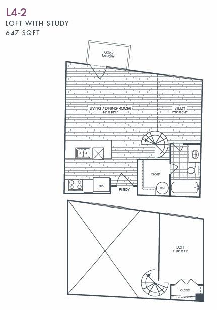 647 sq. ft. L4-2 floor plan