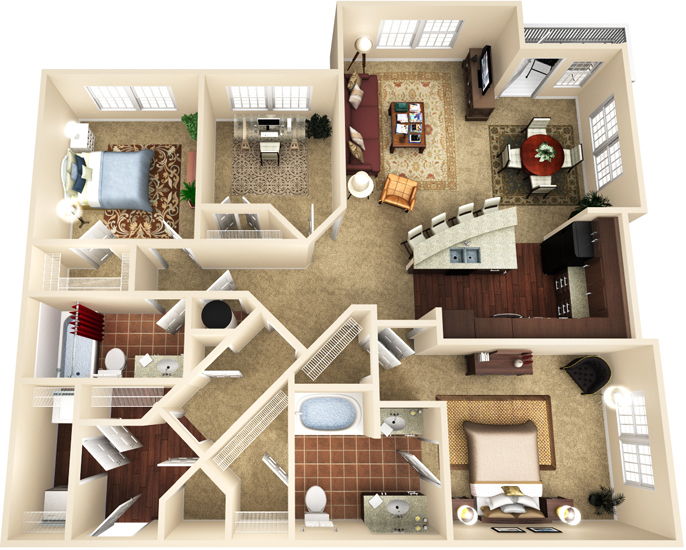 1,437 sq. ft. C1 floor plan