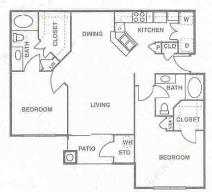 1,125 sq. ft. to 1,189 sq. ft. Barbados floor plan
