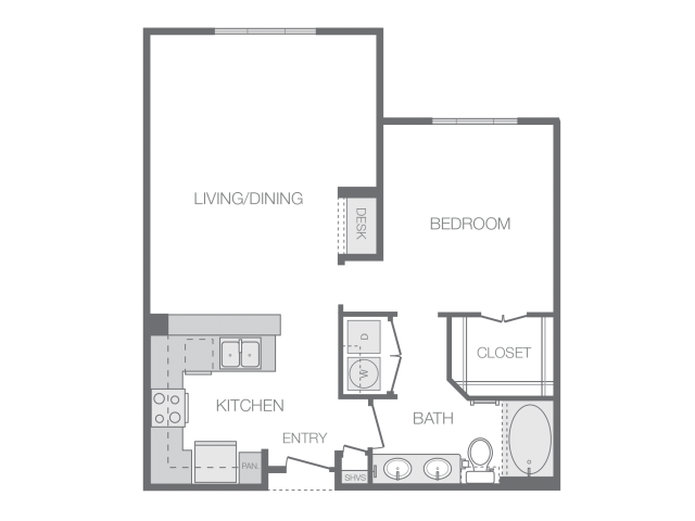 837 sq. ft. to 850 sq. ft. F floor plan