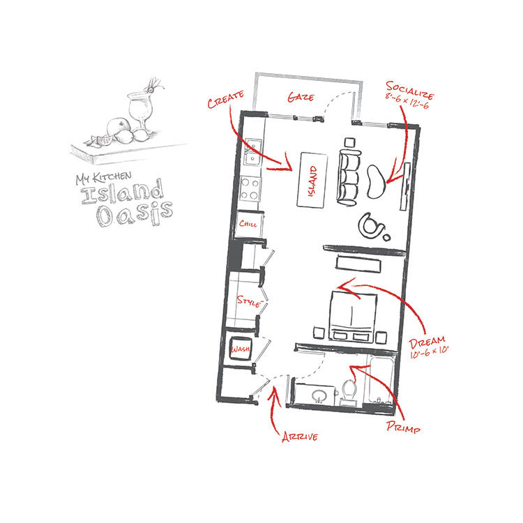 554 sq. ft. E2 floor plan