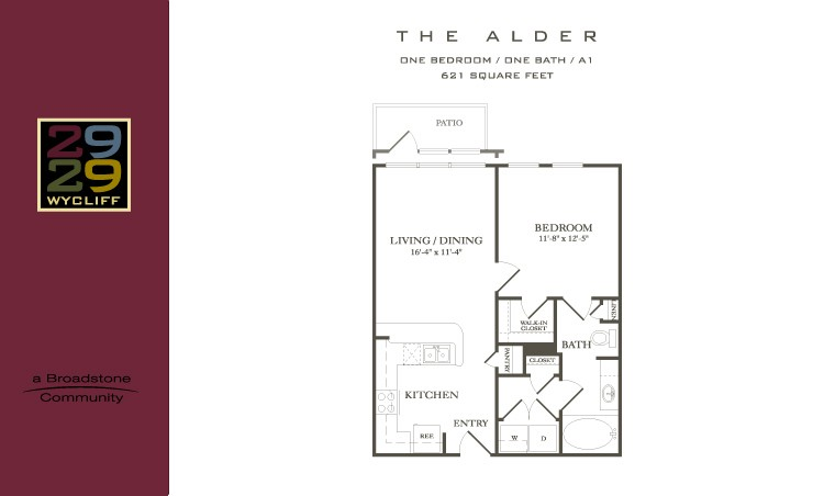 621 sq. ft. Alder floor plan