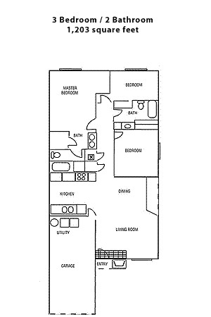 1,203 sq. ft. Three Bedroom-B floor plan