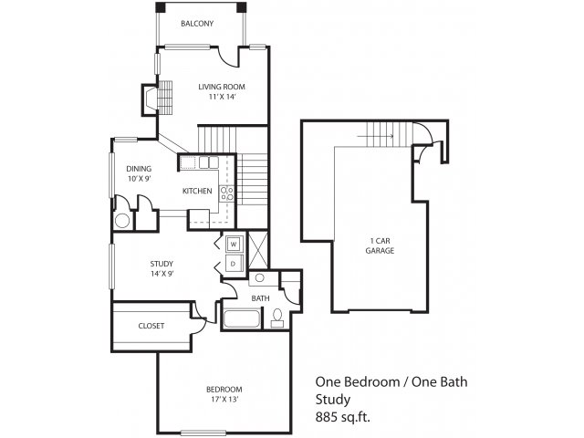 885 sq. ft. Inwood floor plan