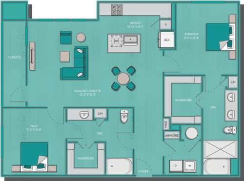 1,261 sq. ft. Jamaica floor plan