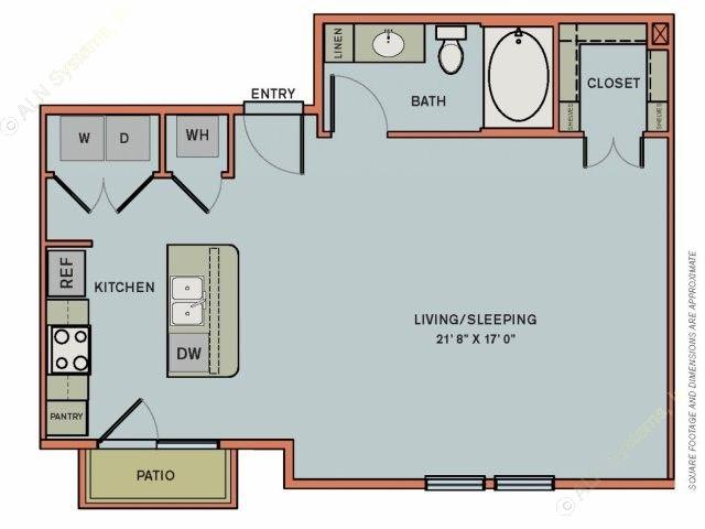 677 sq. ft. 3S1 floor plan