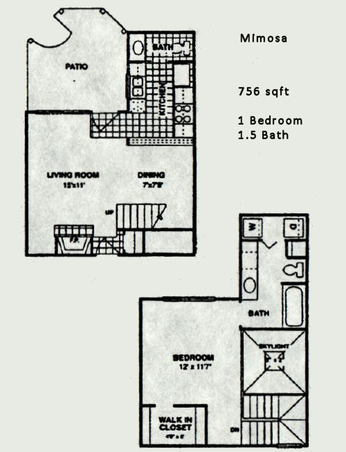 756 sq. ft. Mimosa floor plan
