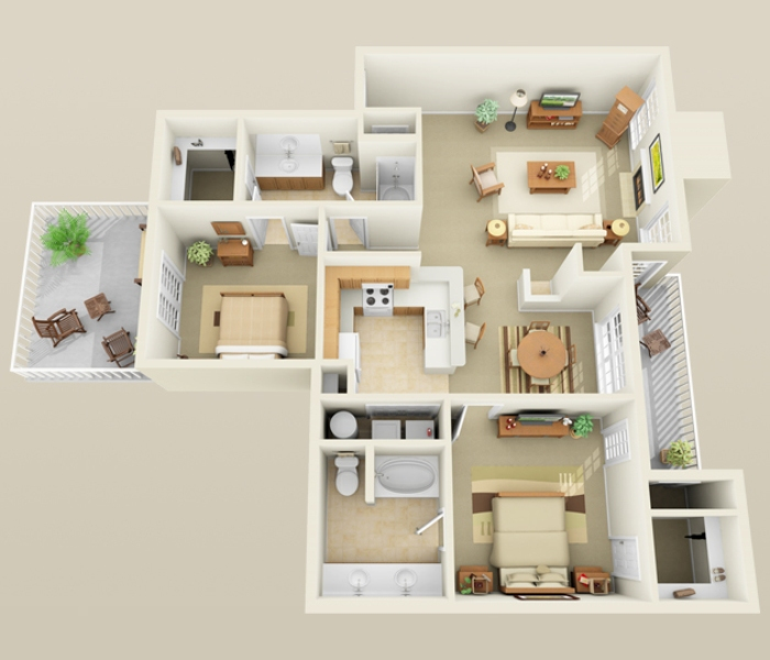 1,251 sq. ft. B3 floor plan