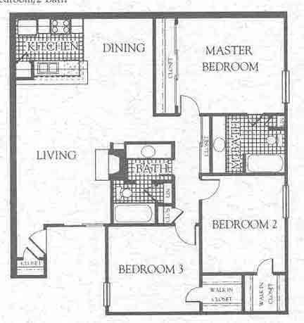 1,195 sq. ft. C1 floor plan