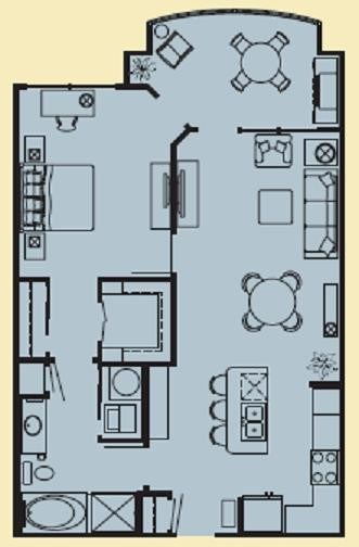 892 sq. ft. D floor plan