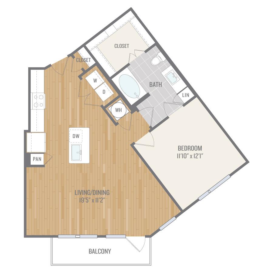 824 sq. ft. A8 floor plan