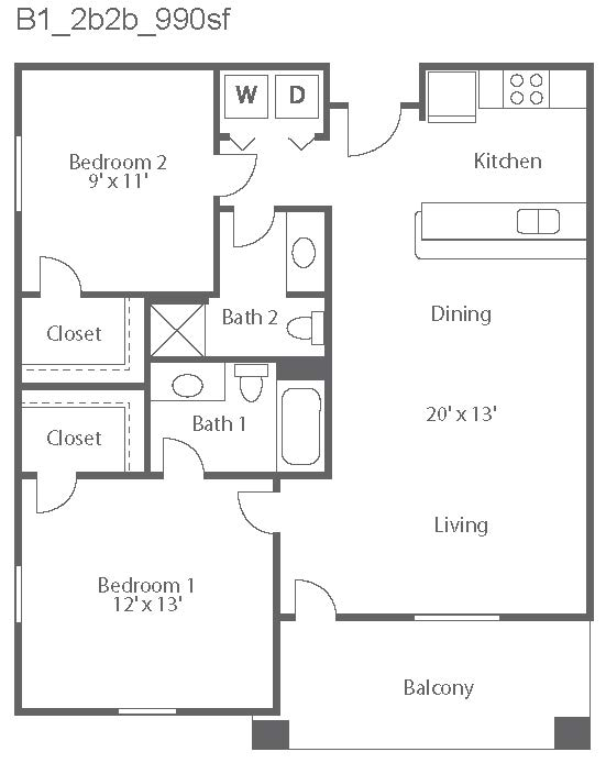 990 sq. ft. Bella/B1 floor plan