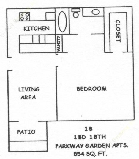 554 sq. ft. NORVELL floor plan