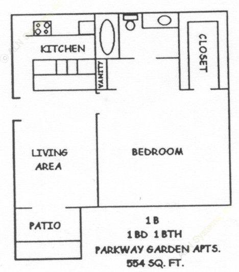 554 sq. ft. NORVELL floor plan