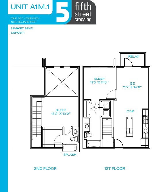 1,030 sq. ft. A1M floor plan