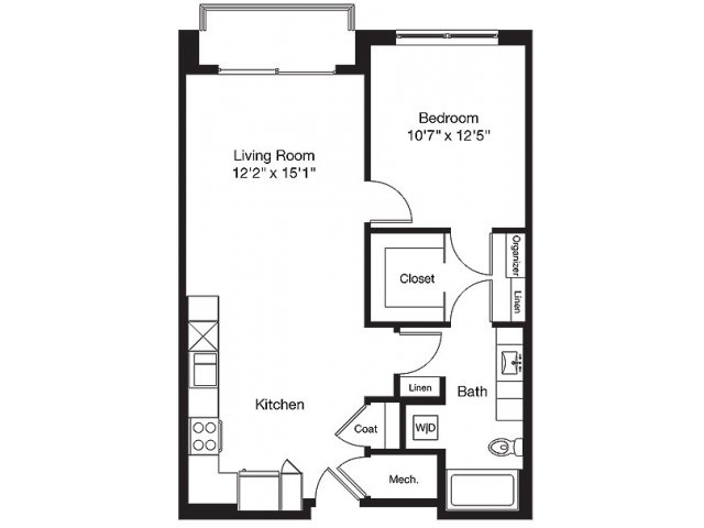 768 sq. ft. LB floor plan