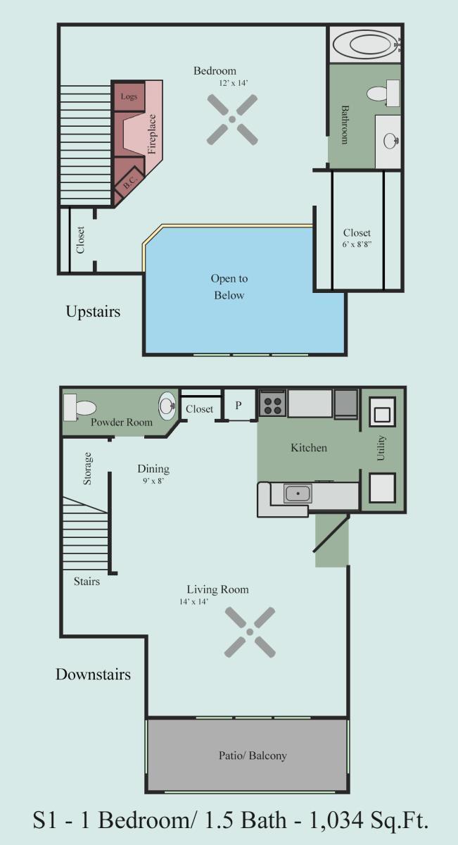 1,034 sq. ft. S1 floor plan