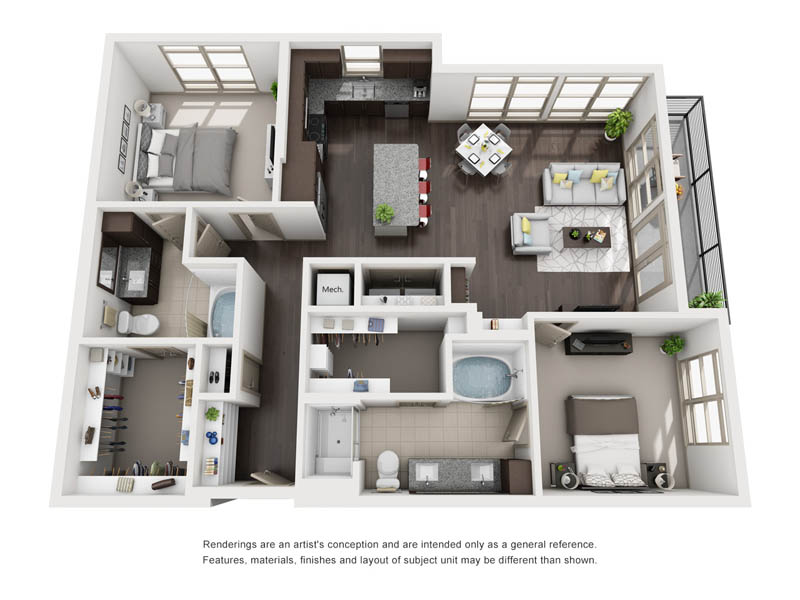 1,251 sq. ft. B7 floor plan