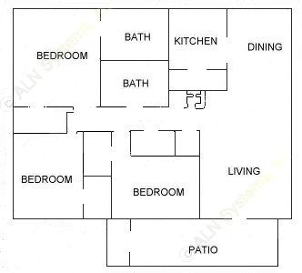 1,178 sq. ft. D floor plan