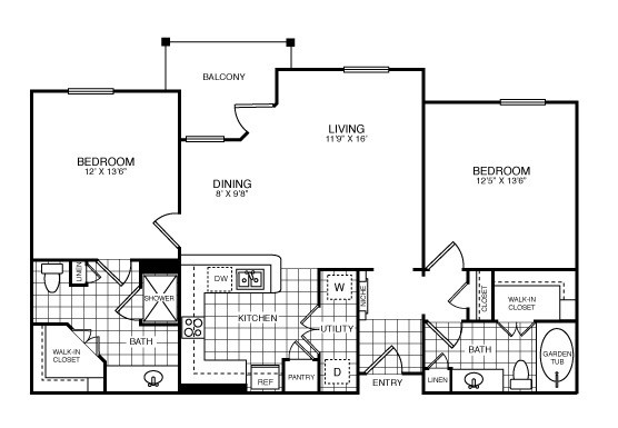 1,120 sq. ft. Madison/B2 floor plan