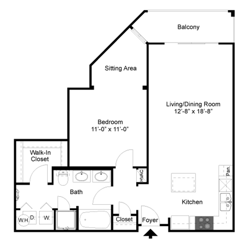 831 sq. ft. A4 floor plan