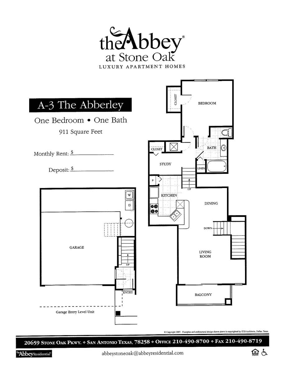 911 sq. ft. Abberley floor plan