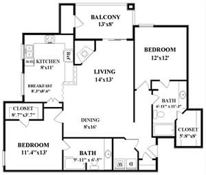 1,244 sq. ft. Roddick floor plan