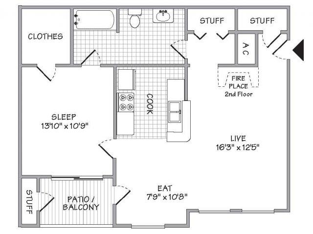 781 sq. ft. floor plan