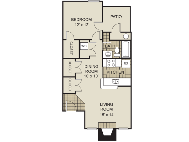 686 sq. ft. A2-C floor plan