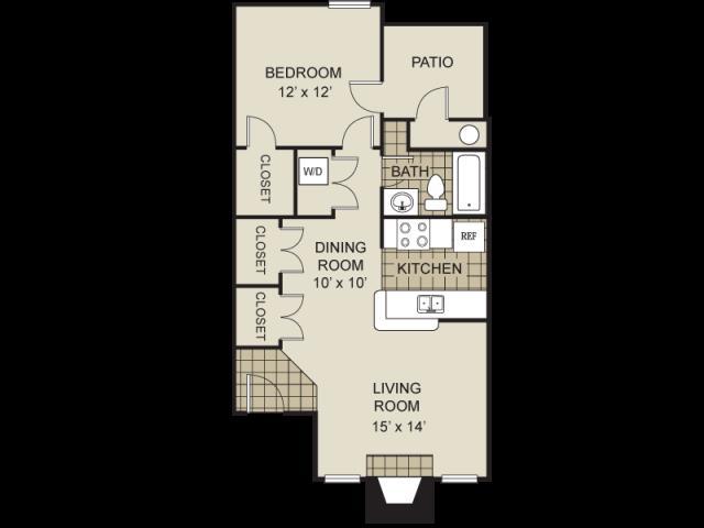 686 sq. ft. A2-C floor plan