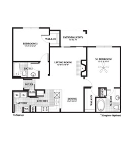 1,155 sq. ft. to 1,223 sq. ft. Cypress floor plan