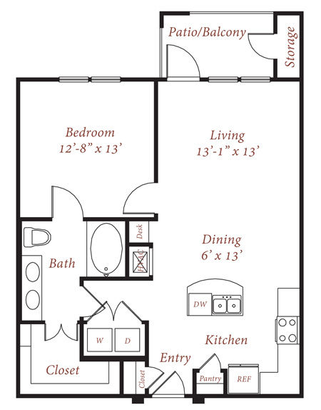 801 sq. ft. A2 floor plan