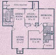 1,150 sq. ft. F floor plan