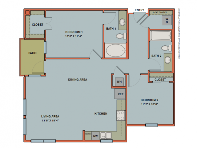 1,067 sq. ft. B1.1 floor plan