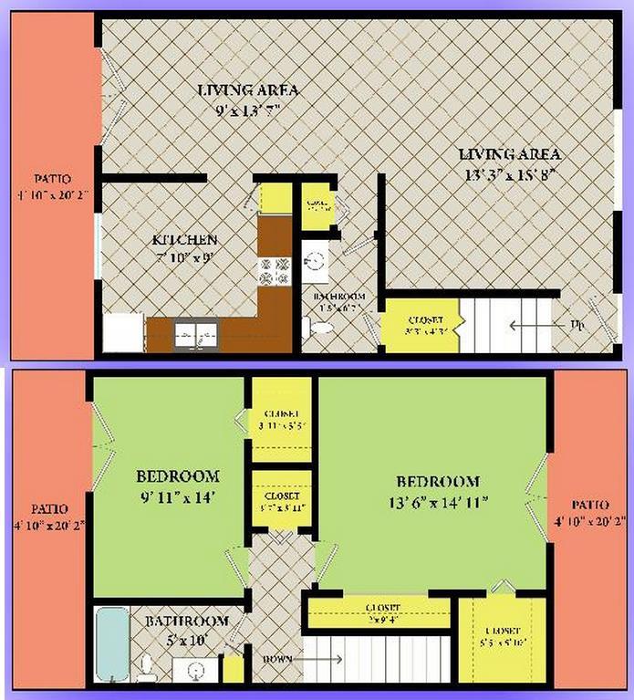 1,400 sq. ft. floor plan