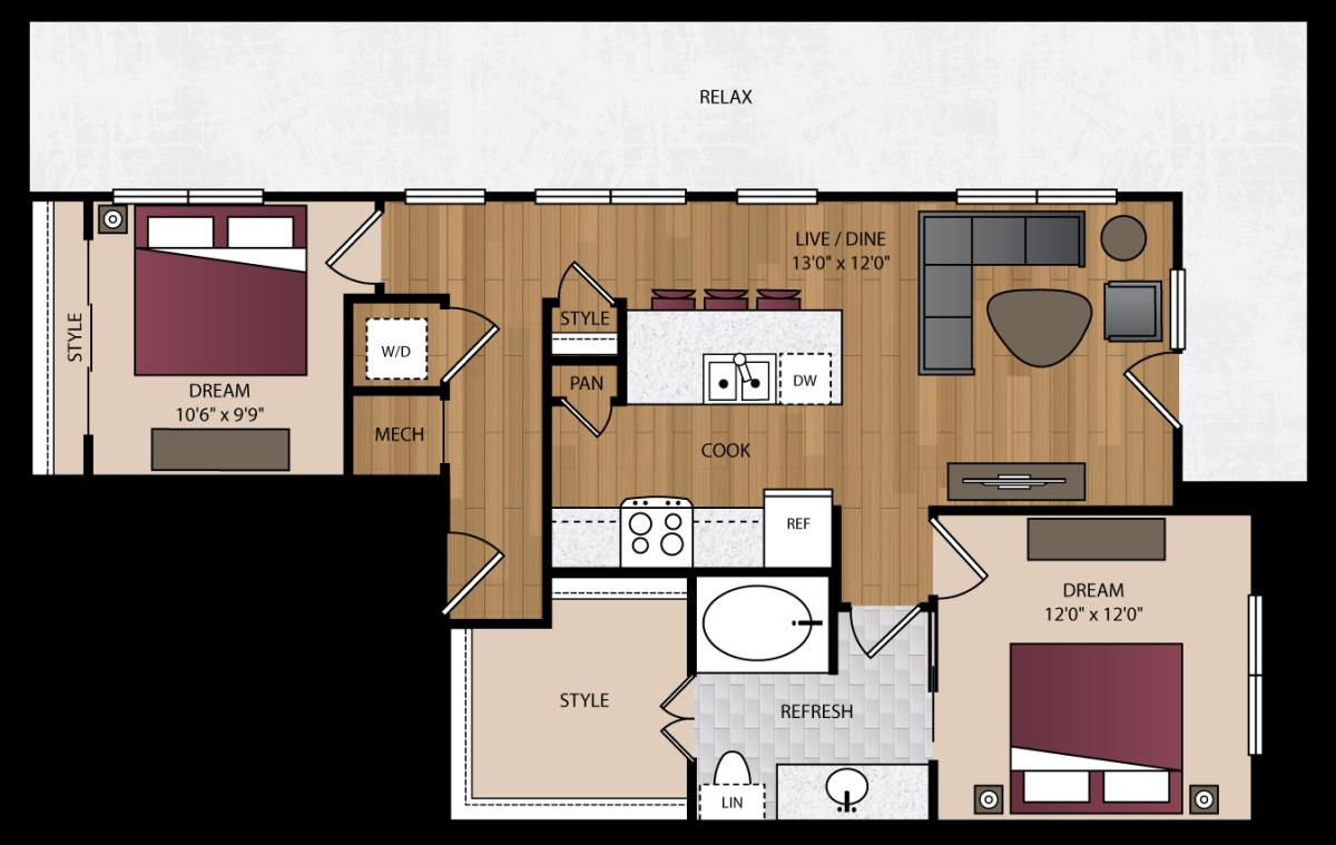 936 sq. ft. B8.1 floor plan