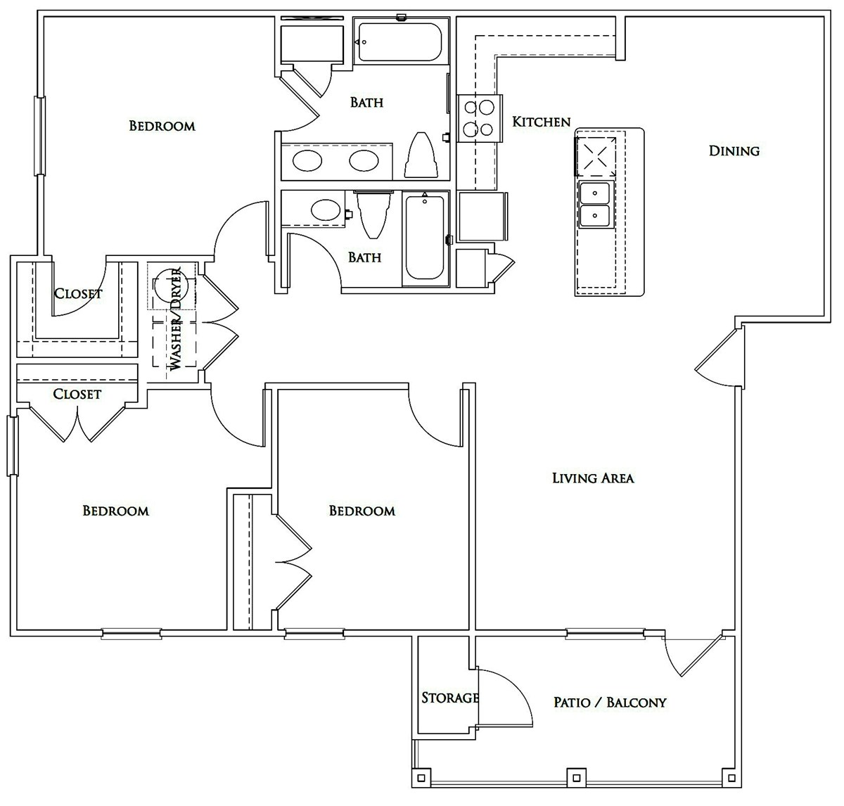 1,311 sq. ft. Mkt floor plan