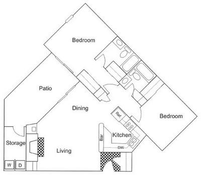 902 sq. ft. B4 floor plan