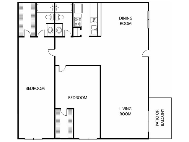1,027 sq. ft. B3/B4/B5 floor plan