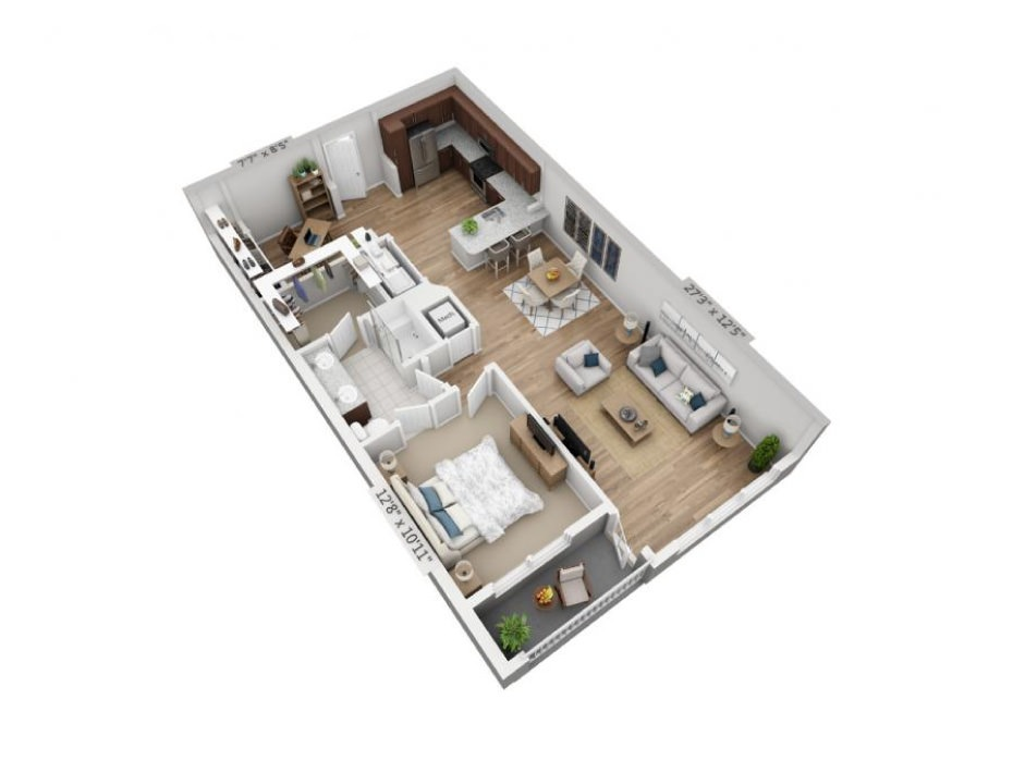 972 sq. ft. A3 floor plan