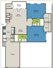 992 sq. ft. 2b w/Gar floor plan