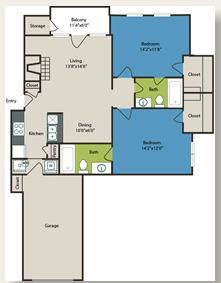 992 sq. ft. La Mansion floor plan