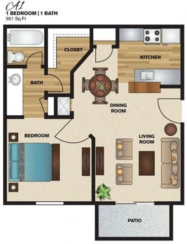 551 sq. ft. to 611 sq. ft. A1 floor plan