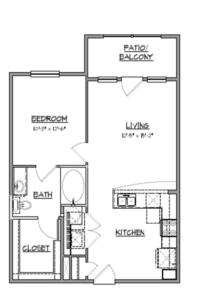 693 sq. ft. A7 floor plan