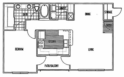 840 sq. ft. A3 PH I floor plan