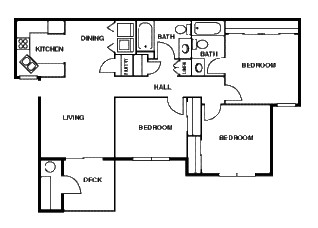 1,048 sq. ft. C floor plan