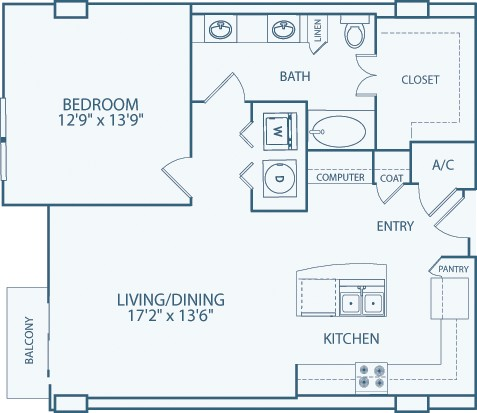 932 sq. ft. to 1,036 sq. ft. A10 floor plan