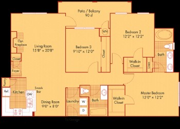 1,355 sq. ft. C1 floor plan